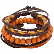 Dare by Voylla Cool Stacked Orange Black Beads and Leather Bracelet Set of 3