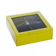 Ékszertartó doboz üveg tetejű fa 18x18cm sárga