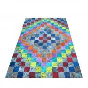 Teppich in Bunt Kuhfell Flicken