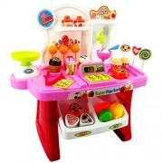 SAISAN Mini Supermarket Shop Cash Register Checkout Counter Toy for Kids, (Multicolour) - Set of 34 Pieces
