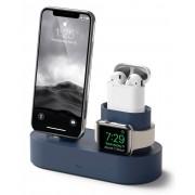 Elago Trio Charging Hub - силиконова поставка за зареждане на iPhone, Apple Watch и Apple AirPods (тъмносиня)