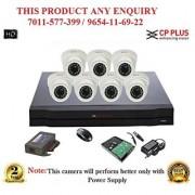 Cp Plus 1 MP HD 8CH DVR + Cp plus HD DOME IR CCTV Camera 7 Pcs + 1TB HDD + POWER SUPLAY + BNC+DC