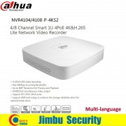 Dahua NVR4104/08-P-4KS2 4 PoE Ports HDMI Network Video Recorder 4 Ch/8CH Smart Mini 1U Up to 8MP Resolution Max 80Mbps H.265