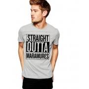 Tricou barbati gri cu text negru - Straight Outta Maramures