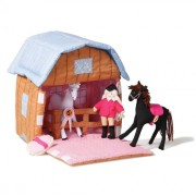 Wonderful Handmade Colourful Fabric Stable and Horses Set with 2 Horses, Olivia and Accessories. Ideal Horse Toy For 3 year old Boys and Girls