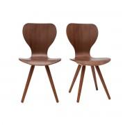 Lote de dos sillas estilo escandinavo en nogal natural NORDECO - Miliboo