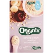 Organix cereale ecologice ovaz, orez, banane si prune cu adaos de vitamina B1, 7 luni+, 200 g