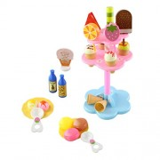 NUOLUX Ice Cream Parlor Play Set 22pcs Sweet Treats Ice Cream and Desserts Tower Play Food Toy Set for Kids