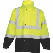 ML Kishigo Storm Cover Men's Class 3 High Visibility Rain Jacket - Lime, 4XL/5XL, Black