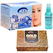 Pink Root Oxy Ice Cool Bleach Cream Hair Serum and Gold Facial Kit Pack of 3