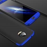 GKK Para Motorola Moto G5s Plus Tres Párrafo 360 Grados De Cobertura Completa PC Funda Protectora Tapa Trasera (negro + Azul)