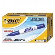 Great Erase Grip Chisel Tip Dry Erase Marker, Blue, Dozen