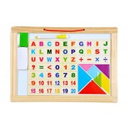 Sanyal Educational & Learning Toy with Wooden Alphabets, Numbers, Signs & Shapes Tray with Picture, Black Board Behind (Size Large)