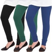 Woolen Leggings for Women Winter Bottom Wear Combo Pack of 3 Black Dark Green and Navy Blue - Free Size