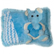 Ultra Elephant Face Pillow 11x15 Inches - Blue