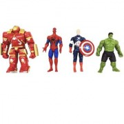 Emob Pack of 4 Super Power Action Heroes Figures Toy with Flexible Body Parts for Kids (Multicolor)