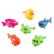 Set Of 6 Wind Up Sea Animal Water Toys For Bath (Includes Duck, Fish, Shark, Frog, Gator)