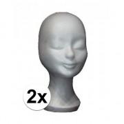 Merkloos 2x Pruiken standaard van styrofor 30 cm