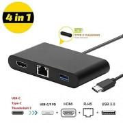 Whaton Adaptador USB-C a HDMI + pd + RJ45 + USB3.0, apoyo 100 Mbps Ethernet, carga rápida y 4 K Ultra HD de salida de vídeo para MacBook, Chromebook y de superficie, etc.