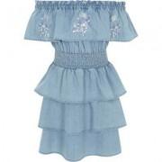 River Island Girls Blue denim rara frill bardot dress - Size 5 - 6 Yea