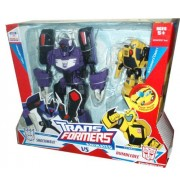 """Transformers Animated Series Exclusive 2 Pack Robot Action Figure - Voyager Class Decepticon SHOCKWAVE (8"""" Tall) with 4 Transform Modes and Activators Class Autobot BUMBLEBEE (4"""" Tall) with Push Button Conversion by Hasbro"""