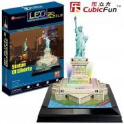 Puzzle 3D cu LED Cubic Fun - Statue of Liberty, 37 piese (Cubic-Fun-L505H)
