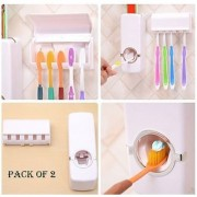 2 In 1 Automatic Toothpaste Dispenser With Tooth Brush Holder Set (holds 5 tooth brushes) Pack Of 2 Shinko