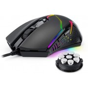 Redragon M601 RGB Gaming Mouse Backlit Wired Ergonomic 7 Button Programmable Mouse Centrophorus with Macro Recording & Weight Tuning Set 7200 DPI for Windows PC (Black)
