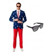 Heren kostuum / pak met Amerikaanse vlag print maat 52 (XL) - met gratis zonnebril