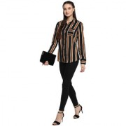 SOIE Green Striped Shirt Collar Formal Shirts For Women
