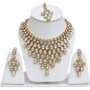Lucky Jewellery Designer White Color Stone Gold Plating Partywear Necklace Set For Girls Women