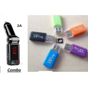 Combo of 2A CAR Bluetooth Kit With USB Card Reader