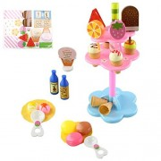 JUA PORROR Kids Food Pretend Play Toy Set Sweet Treats Colorful Ice Cream Dessert Tower