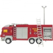 Emob 30 CM Long Fire Rescue Super Friction Truck Toy for Kids with Moving Body Parts (Red)