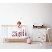 Patut bebe transformabil natur cu alb pentru saltea de 70x140 cm Flexa Baby