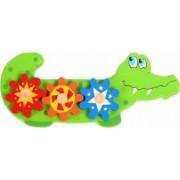 Jucarie educativa Crocodil Baby Mix din lemn cu rotite de invartit