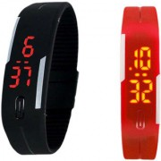 Watch-Men Women and kids LED Digital fashion Sports Watch-Black and RED Combo