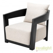 Fotoliu design modern cu tesatura de culoarea crem Rubautelli negru 109584 HZ
