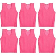 SAS Sports Bibs for Match Practice Training in Pink - Pack of 6 Scrimmage Vests XL size For Unisex