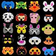 Creativee 20 X Children Eva Foam Wild Farm Animal Masks Party Bag Filler Toys, Stage Performances Celebrate Masks- Assorted Designs(Pack of 20)