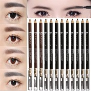 12Pcs/Kit Eyebrow Pencil Pen With Brush Sharpener Makeup Cosmetic Black Brown