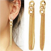 Retro Women Long Chunky Chain Earrings Golden Tassel Chain Ear Stud Pendant HOT