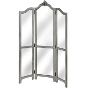 Estelle Silver Leaf Three Panel Mirrored Room Divider