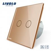 Intrerupator dublu cap scara / cap cruce wireless Livolo din sticla, auriu
