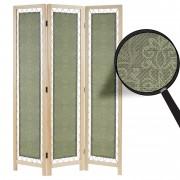 Paravent Samsun, Raumteiler Trennwand Sichtschutz, Textil Ornamente, grün, Kiefernholz, 170x120x2cm ~ Variantenangebot