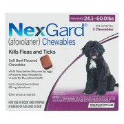 Nexgard Chewables For Large Dogs 24.1-60 Lbs (Purple) 68mg 3 Chews
