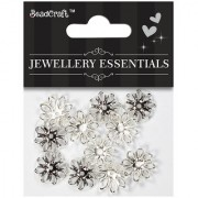 Jewellery Findings Bead cap flowers 13 mm - Silver