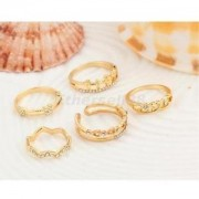 Alcoa Prime 5pcs Crystal Gold Heart Above Knuckle Finger Tip Ring Mid Band Stack Rings