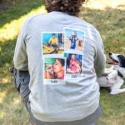 smartphoto Tröja barn Blåmelerad Baksida 5 - 6 år