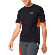 Jack Wolfskin T-Shirt für IHN «Narrows», schwarz/orange